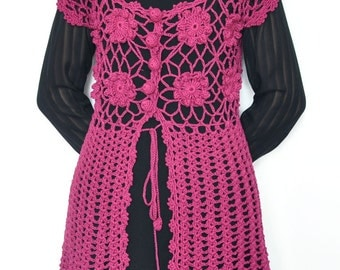 Crochet Cotton Yarn Summer Top/Tunic - Burgundy