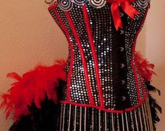 DIVA Circus Costume Red Black Ringmaster Corset Saloon Can Can feather dress