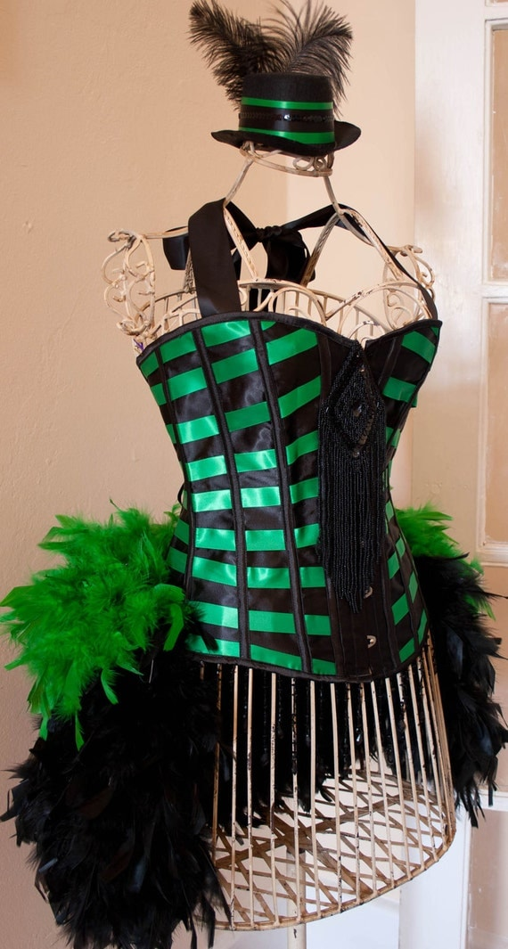 CORSET MICHELLE Burlesque costume dress with green black feathers