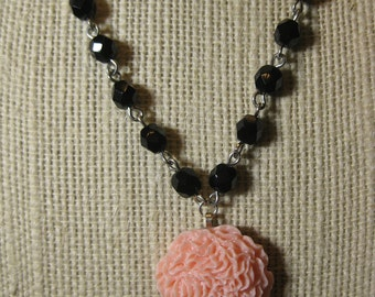 Peony Necklace in Soft Pink and Black