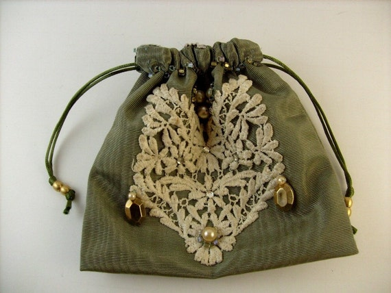 Bridal Bag Jewelry Pouch Makeup Cosmetic Bag or Prom Purse Drawstring