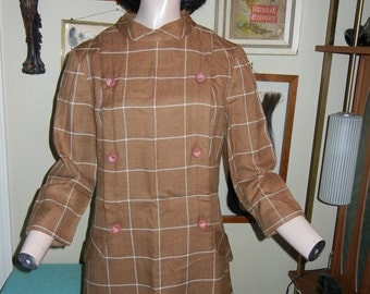 Mod Brown plaid dress with button details Herman Marcus