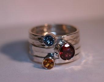 Build Your Own Custom 5 Ring Silver Stack - 9 Gemstone Choices - Made to Order