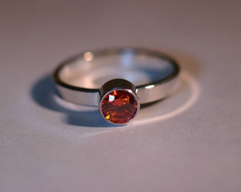 Custom Sterling Silver Ring with 5mm Gemstone - 14 Gemstone Choices - Made to Order