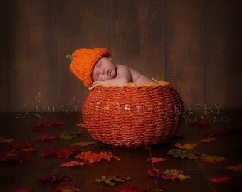 Baby Pumpkin Beanie -  0-3 mo to 12 mo - Great Autumn Photography Prop - made to order