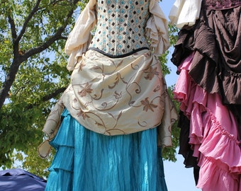 Teal Blue Victorian Bustle Skirt