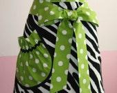 Towel Waist Apron - Black and White Zebra - Green Jumbo Polka Dot