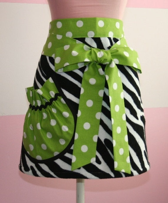 Towel Waist Apron - Black and White Zebra - Green Jumbo Polka Dot