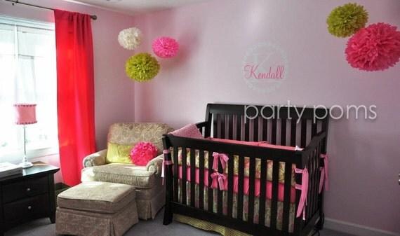 5 Tissue Paper Pom Poms for Nursery Decor / Baby's Room / Mobile .. Custom Colors