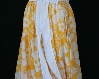 1960s Formal Dress - Miss Elliette - Yellow Floral & Ruffles - Vintage Prom - Wedding Party - Formal Dress - Sunny Happy Yellow - 34 Bust