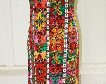 1970s Casual Dress - Fun Bright Neon Print - Hippie - Bohemian - Boho - Gypsy - Cotton Tapa Cloth - Indorables of California - 40 Bust