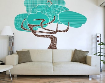 tree vinyl wall decal,  mid century modern tree art, large tree wall sticker art, modernism, FREE SHIPPING