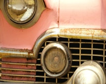 Classic Pink Cadillac Photograph, Abstract Automobile Art,  Old Car Photo,  Home Decor, Retro Decor, Square Print, Photography, Diner Art