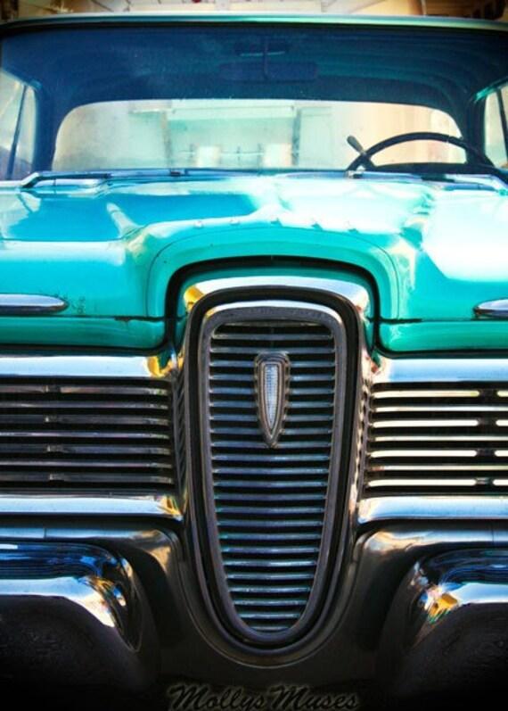 Blue Ford Edsel Photograph,Classic Car Photo, Automobile Decor, Old Edsel Print,  Garage Art  Decor, Mens Home Decor, Mad Men Style