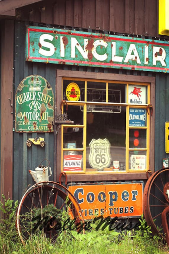Old Gas Station Photograph, Nostalgic Decor, Americana Decor, Sinclair Oil, Garage Art, Vintage Garage, Cooper Tires ,Quaker Oil, Home Decor