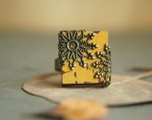 Mustard Yellow Adjustable Scrabble Tile Ring - The Grand Hall - Nickel Free - Flowerleaf