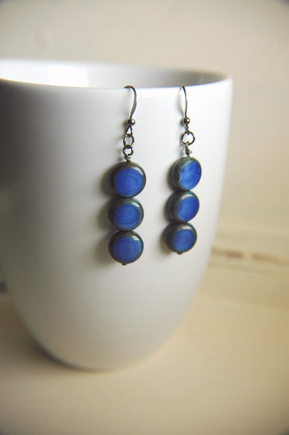 Geometric Glass Stacked Earrings Minimalist Deep Blue - Cobalt
