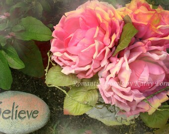 """Cottage Roses Floral Decor, Shabby Chic Floral Art Decor, Roses """"Believe"""" Print, Inspirational Flower Photography, Pink Floral Art """"Believe"""""""