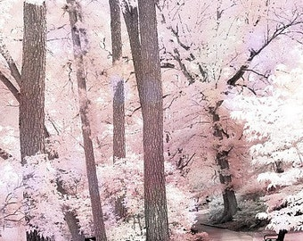 Nature Photography, Dreamy Pink Nature Woodlands, Ethereal Pink Trees, Surreal Pink Landscape, Pink Woodlands, Fairytale Pink Nature Print