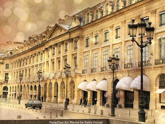 Paris Photography, Gold Black Paris Windows Architecture, Paris Street Light Lanterns Print, Paris Place Vendome Street Fine Art Photography
