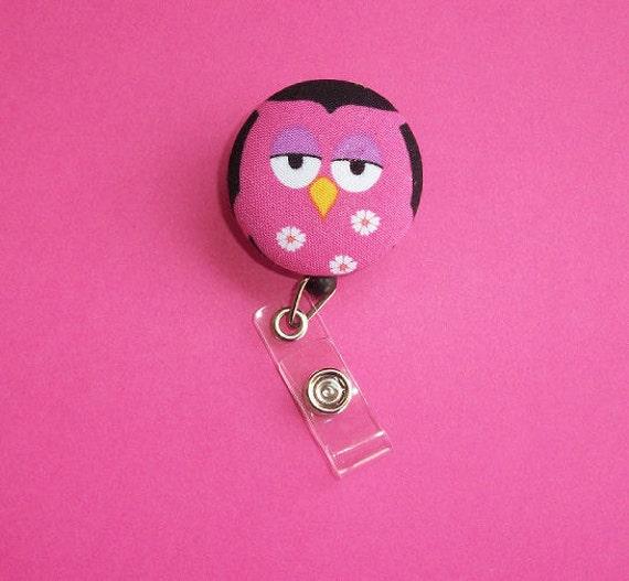 Retractable ID Badge Holder Reel - Fabric Button - Sleepy Owl - Pink