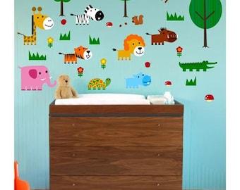Cute Wild Life Animals Wall Decal / Sticker