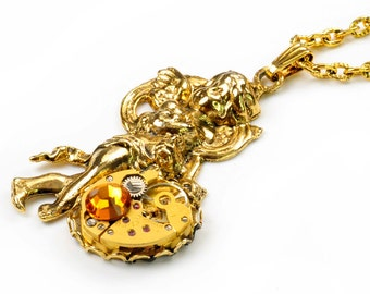 Vintage Gold Watch n Angel Steampunk Necklace