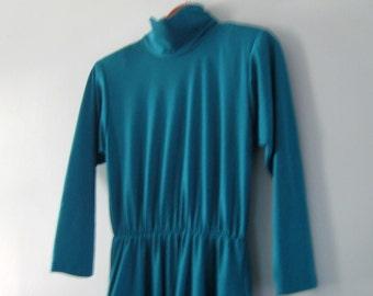 Mock Turtleneck Dress, Impromptu, Dark Turquoise, Teal Cinched Waist Turtleneck Long Sleeve Body Con Dress, by Impromptu