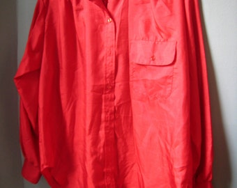 Vintage Blouse, Fire Engine Red, Long Sleeve, Pocket, Button Down with Roll Up Sleeves, Notches, Size XL, XXL, Size 16, 18 or 20