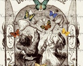 The Butterfly Chase 8.5x11 Digital Collage Sheet Image Transfer burlap feed sacks nursery rhyme greeting cards UPrint 300jpg