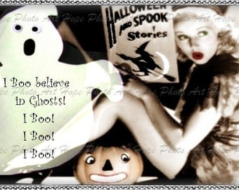 I Boo Believe In Ghost 4x6 Halloween Digital Collage Sheet Postcard Atc Aceo greeting cards crafting supplies - U-Print 300jpg