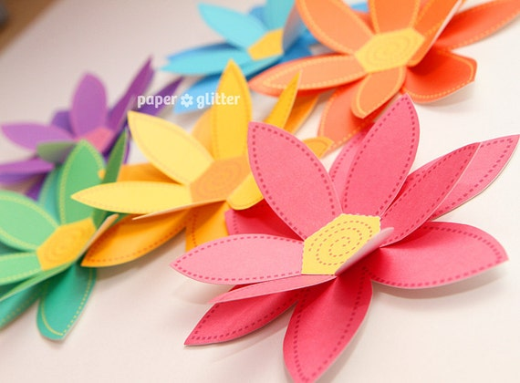 Paper Flowers Rainbow Paper Craft Set - 2 sizes - Printable PDF 0043