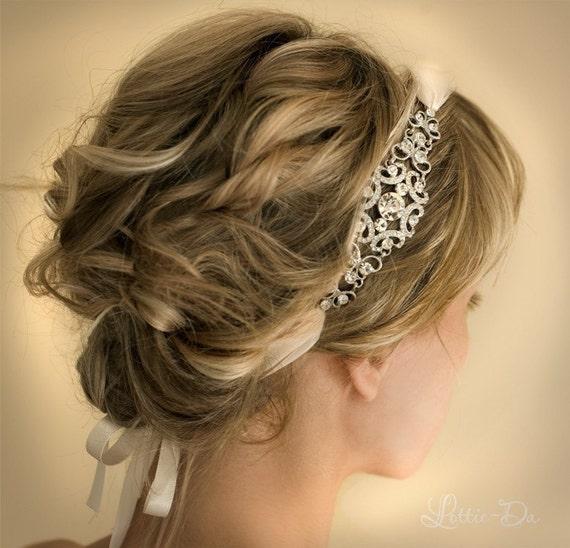1920s bridal ribbon headband gatsby headband vintage headband