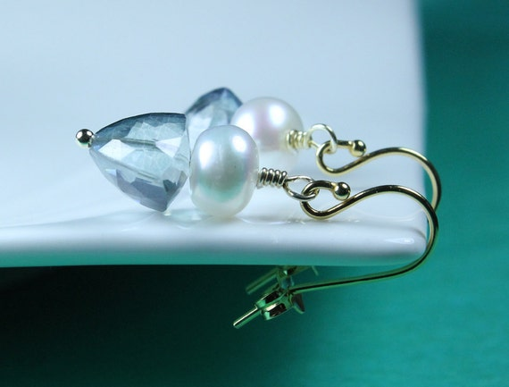 Pearl earrings with Blue Quartz Trillion cut briolettes, Gold vermeil ear wires, simple earrings, everyday pearls, Free shipping in Canada