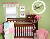 """Scallop Circle with Polka Dots Custom Initial and Name Vinyl Wall Decal Girl or Boy Baby Nursery 22"""" Circle FN0156"""