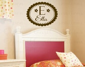Initial Name Wall Decals - Initial and Name Monogram Vinyl Wall Decal with Scallop Polka Border and Flowers 22H x 28W FN0229