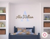 Monogram Vinyl Wall Decal - Personalized Baby Boy or Girl Wall Decal for Baby Nursery Room Decor  IN0042