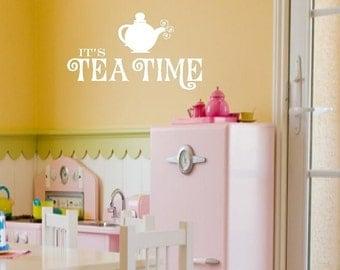 Girls Wall Decals - Its Tea Time Playroom Vinyl Wall Decal - Tea Party Wall Art 16X 28 BA0041