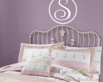 Extra Large Initial Wall Decal with Polka Dot Circle Frame Border - Baby Girl or Boy Nursery Teen Monogram 28 in FI0002