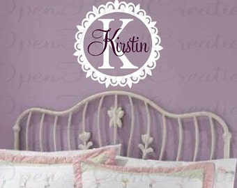 Personalized Vinyl Wall Decal - Monograms Baby Nursery Kids Teen Dorm - Custom Initial Name Wall Sticker Scallop Circle Frame FN0210