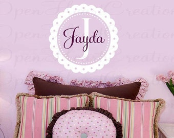 Personalized Wall Decal - scallop eyelet circle frame border initial name baby nursery fun cute vinyl wall decal transfer sticker FN0260