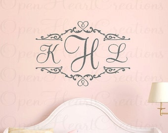 Children Wall Decals - Three Initial Monogram Vinyl Wall Lettering - Ornate Heart Shabby Chic Accents Baby Girl Nursery 22H X 32W Fn0242