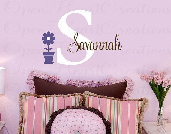 Girl Flower and Name Wall Decals - Initial and Name Personalized Wall Decal Flower Vinyl Transfer - Baby Nursery Decor 22H x 32W INA0029