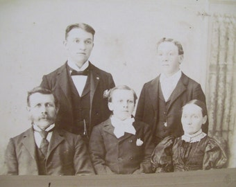 SALE....Old Mom with 4 Sons - Family Photo -  Great Black Dress - Antique Mounted Photo - 1800's