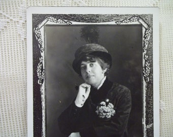Real Photo Postcard of Pretty Fashion Lady with Large Feather Hat and Fingerless Gloves - Fancy Border - early 1900's