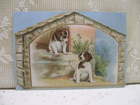 Cute Puppies in the Doghouse - Victorian Trade Card - Glover's Imperial Mange Cure - early 1900's