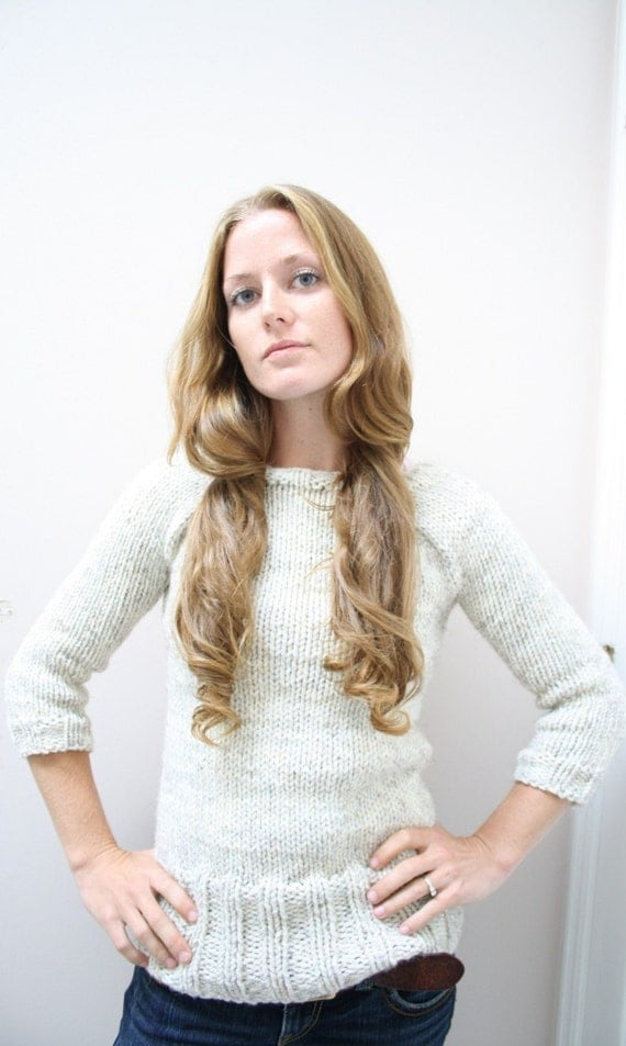 KNITTING PATTERN // Oatmeal Pullover // top down chunky sweater PDF