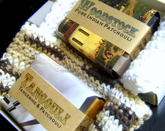 Men's Soap Gift Set for him / Autumn Soaps / Herbal Soaps / Crochet Washcloths