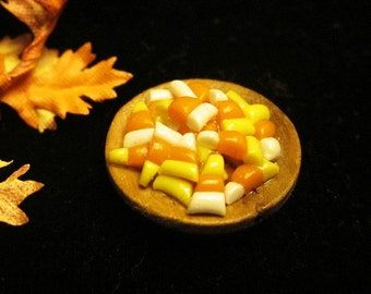 1/12 Scale (Dollhouse) Traditional Candy Corn in a Wooden Bowl Halloween Autumn Trick or Treat - Indoor Fairy Garden