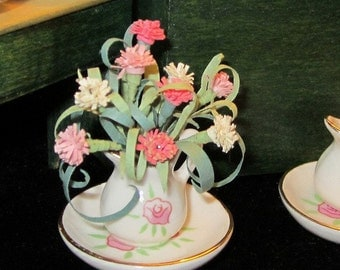 1/12 Scale (Dollhouse) Pink and White Carnations Flower Arrangement in a Bowl & Pitcher Set - Mothers Day - Indoor Fairy Garden